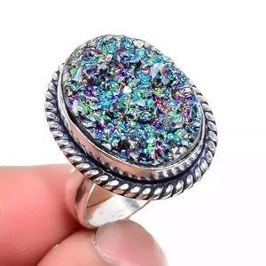 Jewelry - Exquisite 925 stamped Blue Druzy Titanium Ring